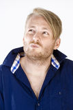 Man with Blond Hair Thinking Stock Photography