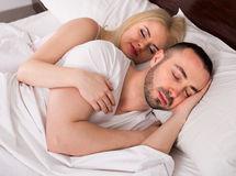 Man and blond woman sleeping Royalty Free Stock Photography