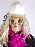 Man with blonde wig royalty free stock images