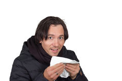 Man blow his nose. Man with flu-blows her nose Royalty Free Stock Photos