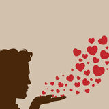 Man blowing heart vector. Man silhouette hand handsome blowing heart Royalty Free Stock Photography