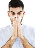 Man Blowing His Nose Royalty Free Stock Photos