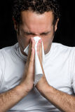 Man Blowing Nose. Sick tissue man blowing nose Stock Photos