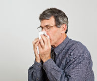Man Blowing Nose Closeup Royalty Free Stock Image
