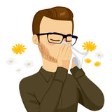 Man Blowing Nose With Tissue Royalty Free Stock Photo