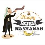 Man blowing Shofar horn for the Jewish New Year, Rosh Hashanah holiday, judaism religion vector illustration with logo. Man blowing Shofar horn for the Jewish stock illustration