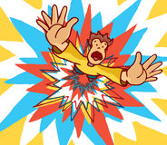 Man blown away by huge colorful explosion Royalty Free Stock Image