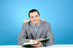 Man on blue background Stock Photography