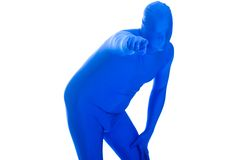 Man in a blue body suit pointing a finger Stock Photos