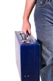 Man with blue briefcase Stock Photos