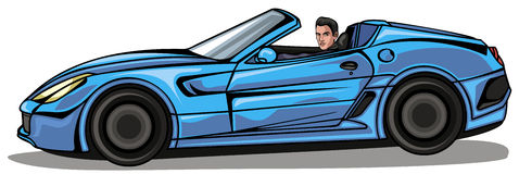 Man in blue cabriolet Stock Images