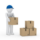 Man blue cap brown package. Man with blue cap stack brown package Royalty Free Stock Image