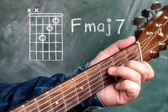 Man playing guitar chords displayed on a blackboard, Chord F major 7. Man in a blue denim shirt playing guitar chords displayed on a blackboard, Chord F major 7 Royalty Free Stock Image