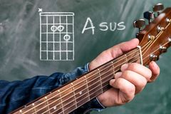 Man playing guitar chords displayed on a blackboard, Chord A sus. Man in a blue denim shirt playing guitar chords displayed on a blackboard, Chord A sus Stock Images