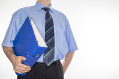 Man with blue document Stock Images