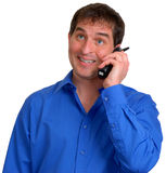 Man in Blue Dress Shirt 14. Man in blue dress shirt smiling and talking on the phone stock photography