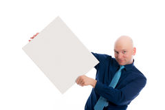 Man in blue dress with a white signboard Royalty Free Stock Photo