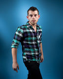 Man in Blue Flannel Royalty Free Stock Photo