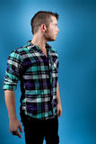 Man in Blue Flannel Stock Images