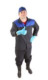 Man in blue gloves show thumb up. Royalty Free Stock Photo