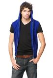Man with Blue Hood Royalty Free Stock Image