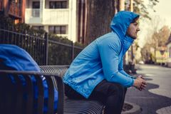 A man in a blue hoodie Royalty Free Stock Images