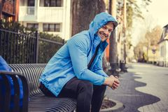 A man in a blue hoodie Stock Images