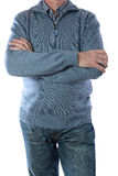 Man in blue jacket and ckeckered shirt Royalty Free Stock Photography