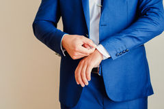 The man in the blue jacket stock image