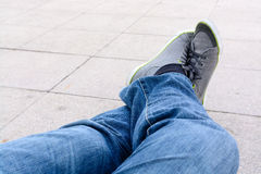 Man in blue jean relax Royalty Free Stock Photo