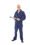 Man in blue overall with wrench Royalty Free Stock Photos