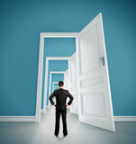 Man in blue room Royalty Free Stock Photos