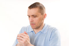 Man in a blue shirt Stock Images