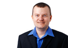 Man in Blue Shirt. Close up picture of a man in blue shirt and black jacket Stock Photos