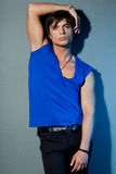 Man in a blue shirt Royalty Free Stock Photos