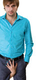 Man in blue shirt Royalty Free Stock Images