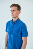 Man in blue shirt Royalty Free Stock Photography