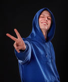 Man in blue sportswear. Royalty Free Stock Image