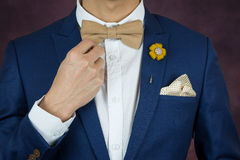 Man in blue suit bowtie, brooch, handkerchief. Man in blue suit with coffee cream bowtie color, flower brooch, and dot pattern handkerchief, close up, adjusting Stock Image