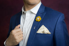 Man in blue suit, brooch, handkerchief. Man in blue suit with flower brooch, and dot pattern handkerchief, close up royalty free stock photo