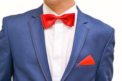 Man in blue suit. With red handkerchief, close up stock photo