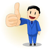 Man in blue suit thumb-up Royalty Free Stock Images