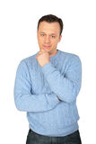 Man in blue sweater royalty free stock images