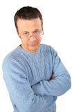 Man in blue sweater and glasses Royalty Free Stock Photos
