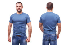 Man in blue t-shirt on white background Stock Image