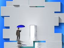 Flood. Man with blue umbrella stands in water in pure white room with open door. Human elements were created with 3D software and are not from any actual human Royalty Free Stock Image