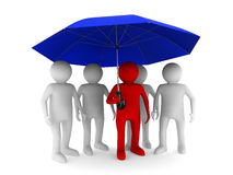 Man with blue umbrella on white background Royalty Free Stock Image
