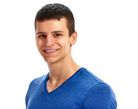 Man blues shirt smiling portrait Stock Images