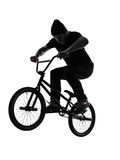 Man bmx acrobatic figure silhouette Royalty Free Stock Photography