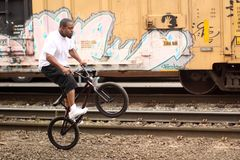 Man on BMX bike Royalty Free Stock Images